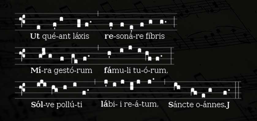 квадратная нотация гимна святому Иоанну
