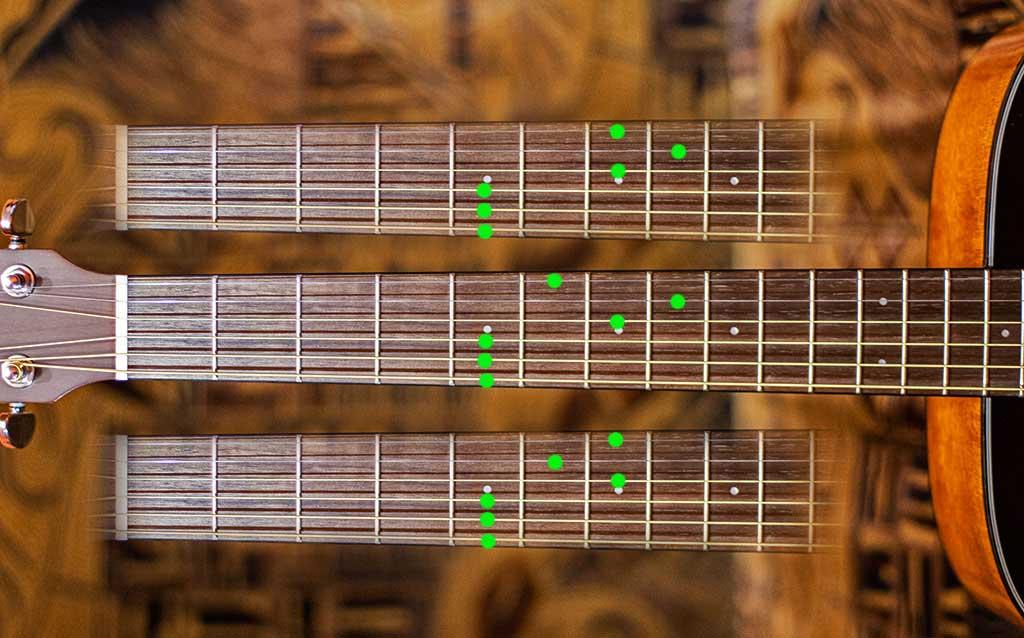Аккорды Фа минор, мажор и септаккорд на гитаре в строе Дроп До (C)